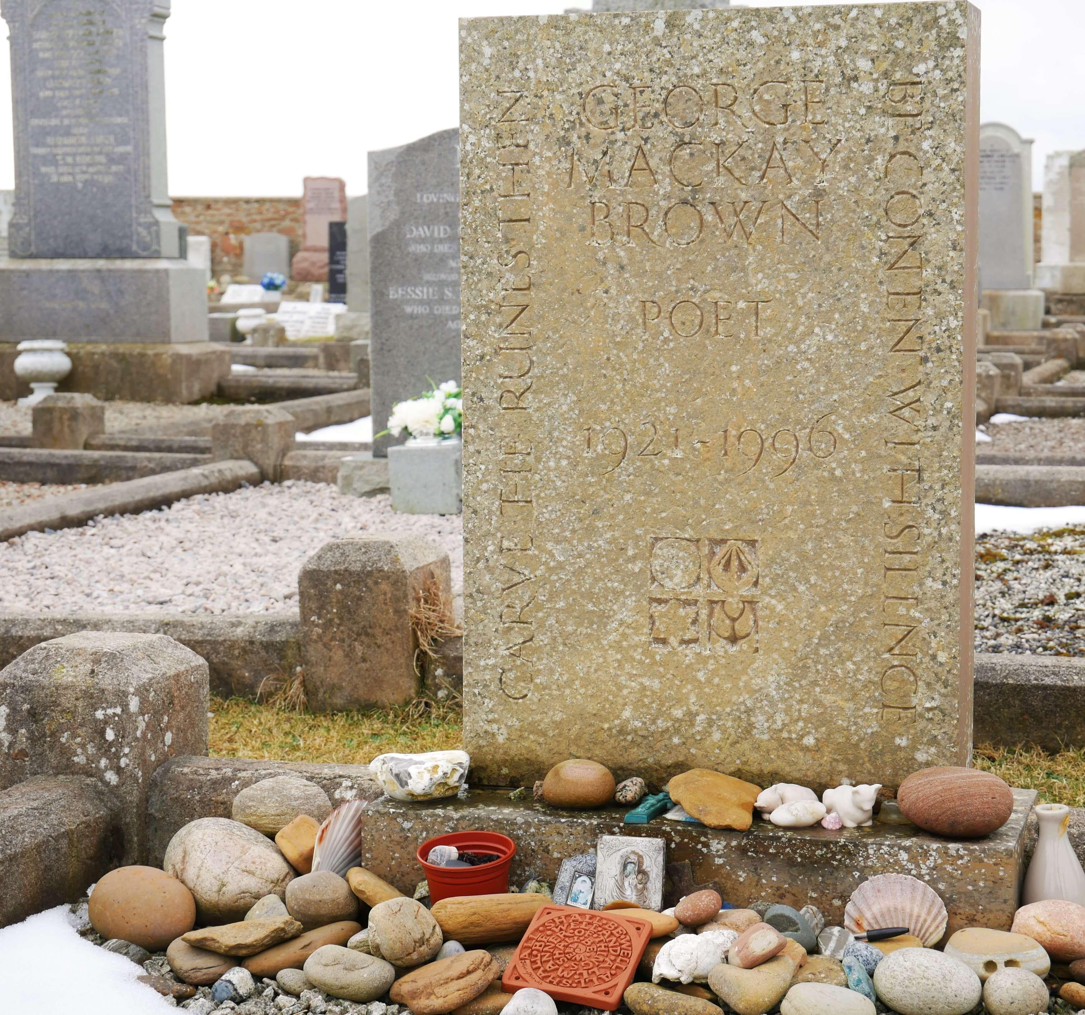 Grave of Orkney Islands writer George M Brownat Warbeth Kirkyard, Stromness, Orkney, Scotland
