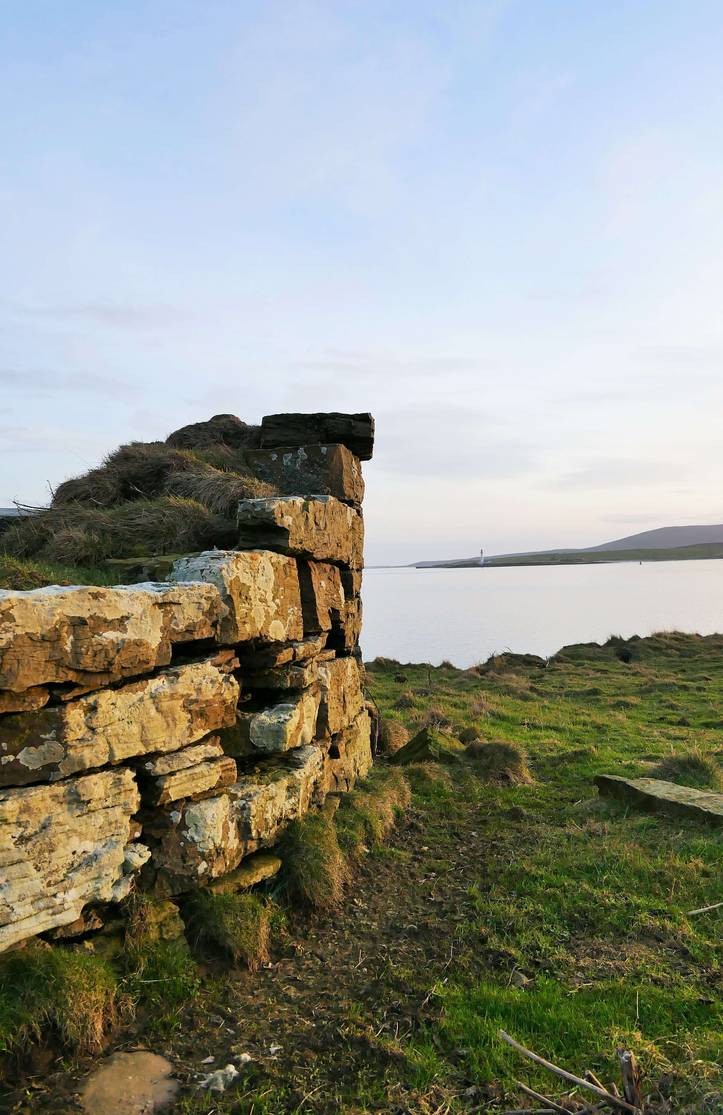 Remains of a fish curing house on a tidal island, Stromness, Orkney Islands, Scotland, UK. Orkneyology.com