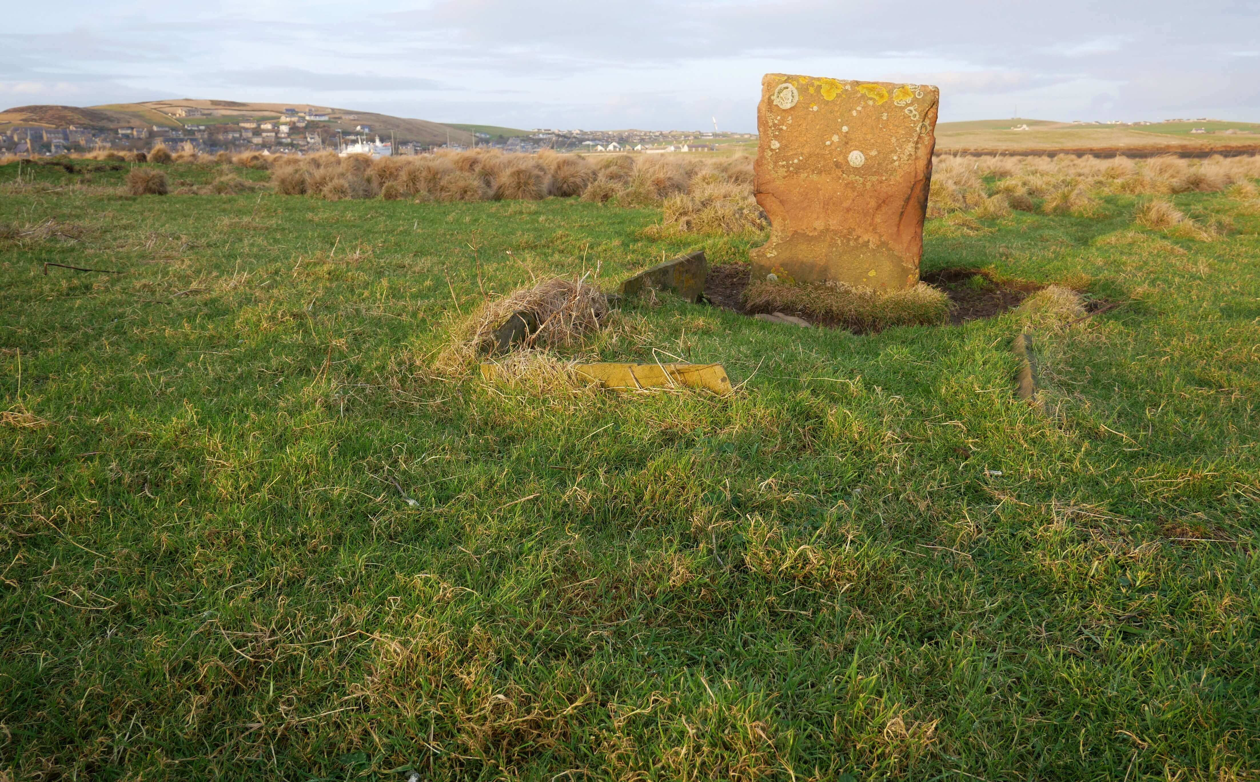 Unmarked grave on a tidal island in Stromness, Orkney Islands, Scotland, UK