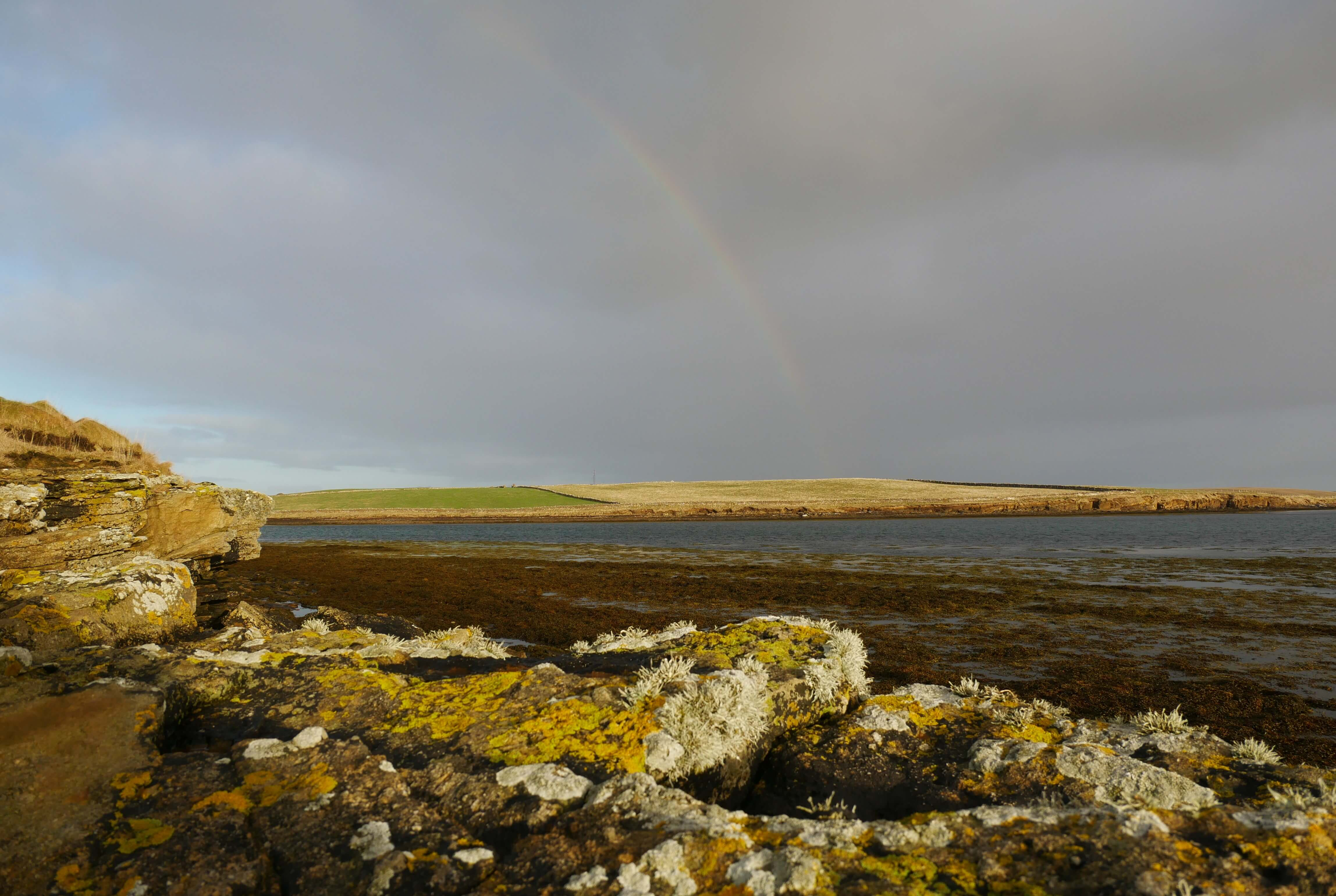 Rainbow on a rugged beach, Stromness, Orkney Islands, Scotland, UK