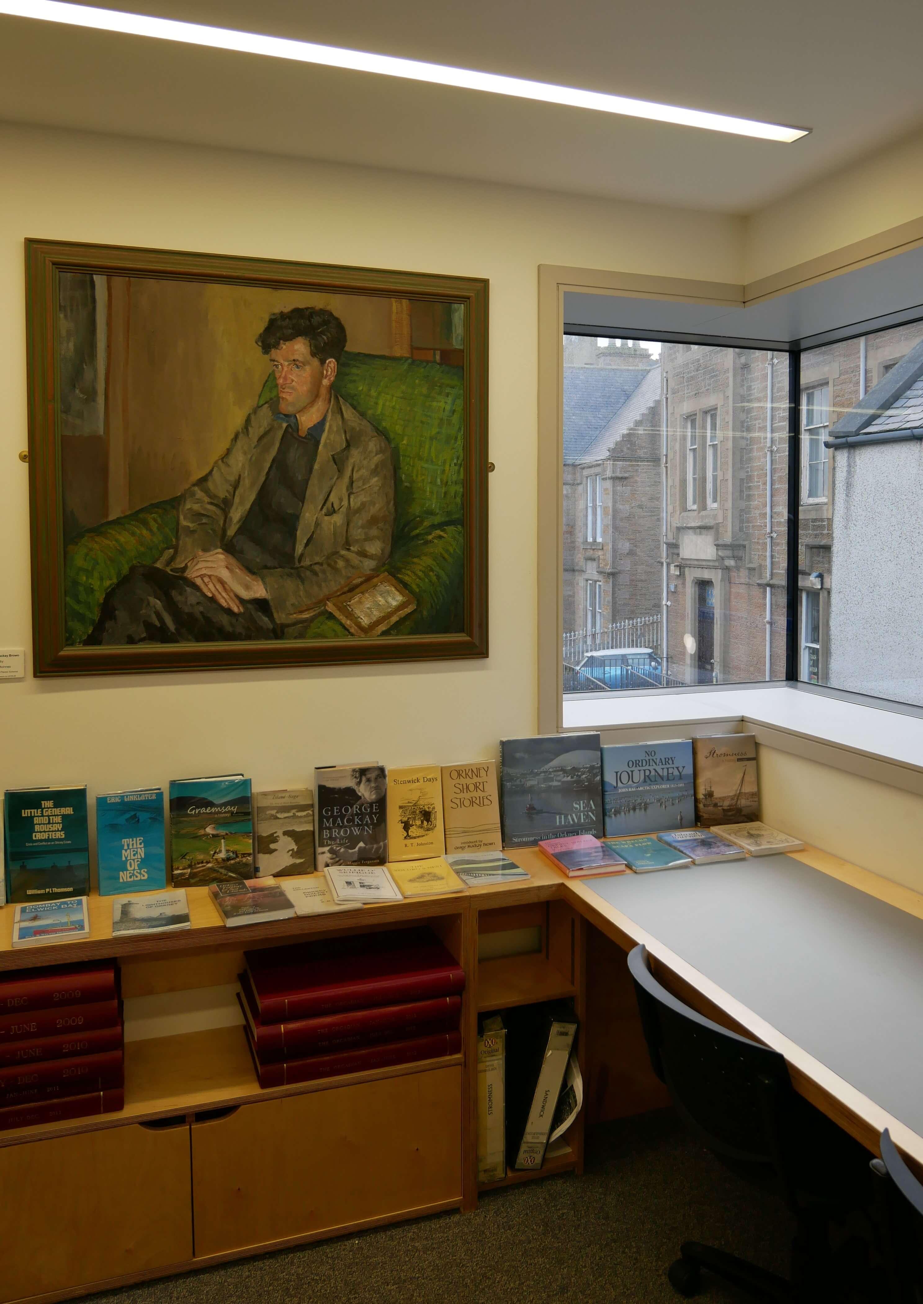 Orkney writer GMB in the Stromness Library, Orkney Islands, Scotland