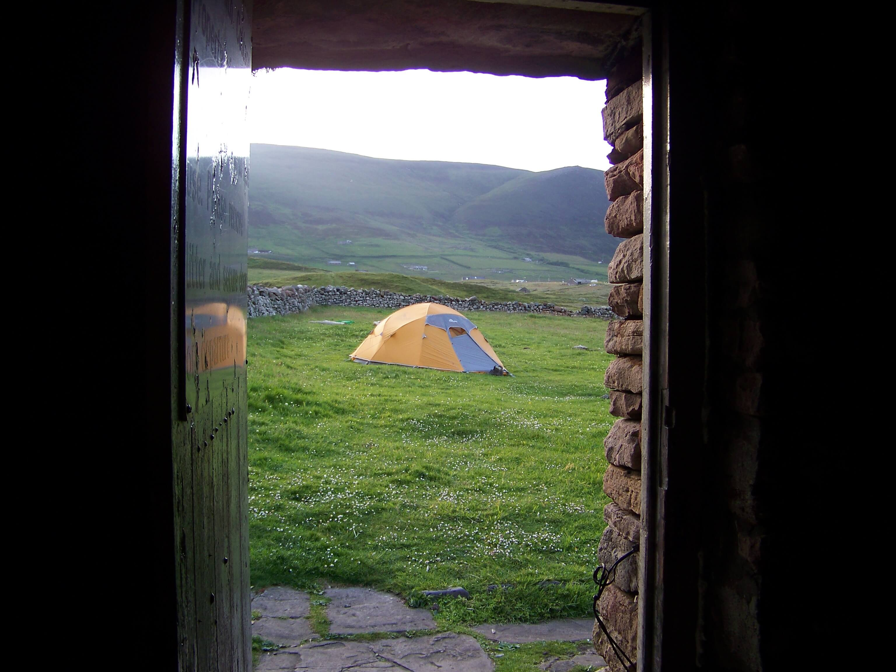 Camper's tent at the bothy, Hoy, Orkney