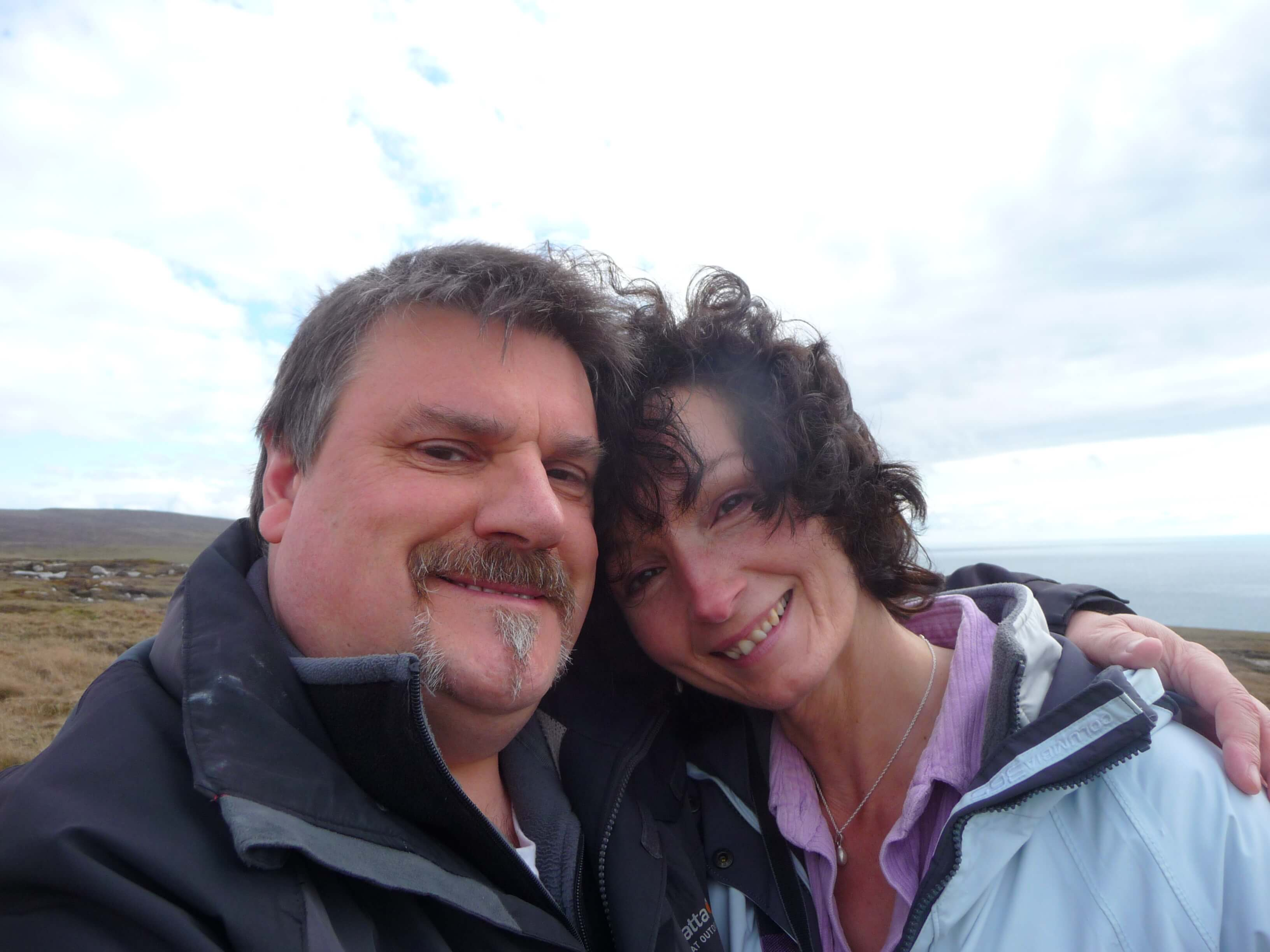 www.Orkneyology.com - Native Orcadian storyteller, folklorist and historian Tom Muir and his American expat wife, Rhonda, in the Orkney Islands, Scotland, UK