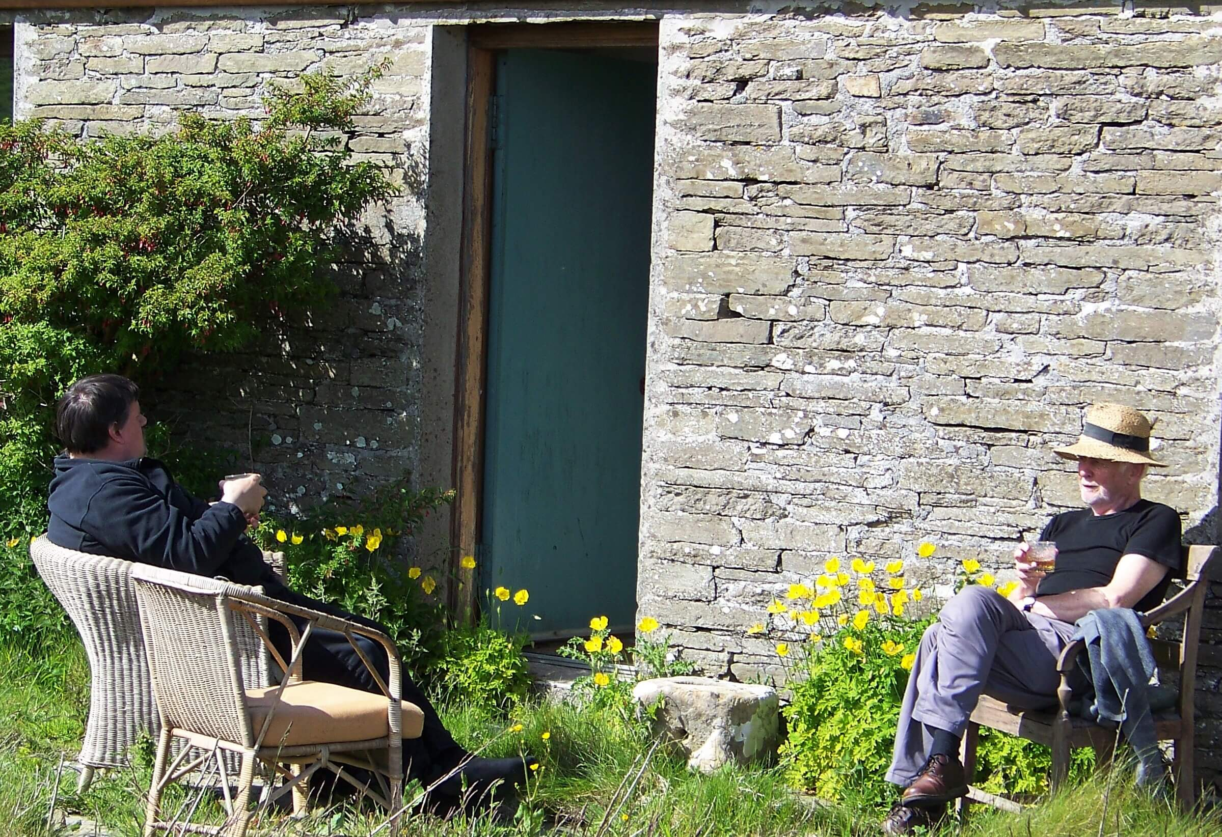 Tom and Bryce enjoying the afternoon sun on the island of Rousay