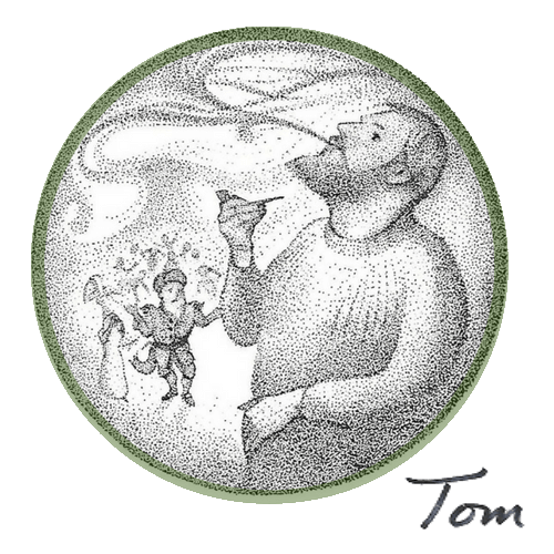 Bryce Wilson's illustration of Tom Muir, Orkney, Scotland storyteller, from Tom Muir's book The Mermaid Bride