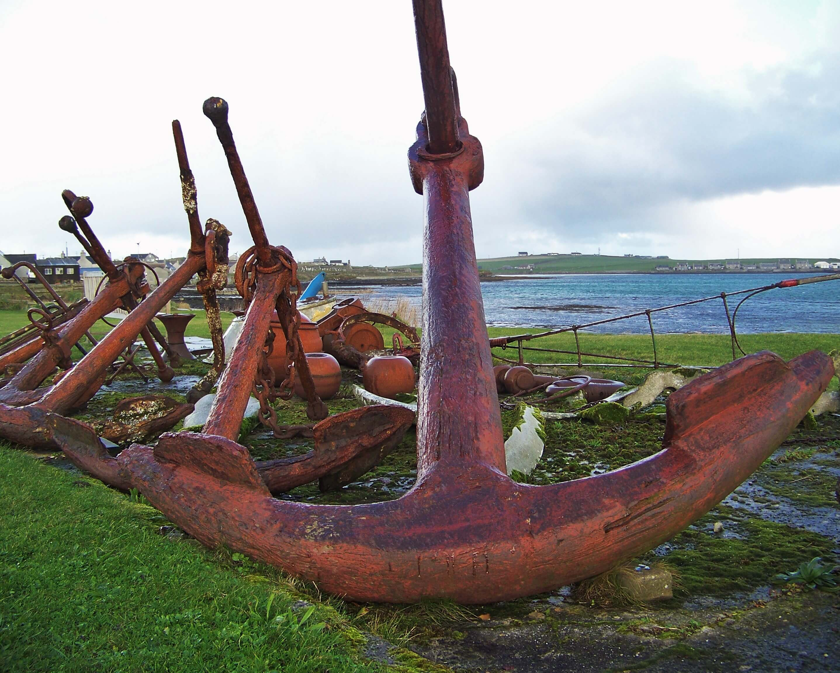 Old anchors in Pierowall on the Orkney island of Westray, Orkney, Scotland.