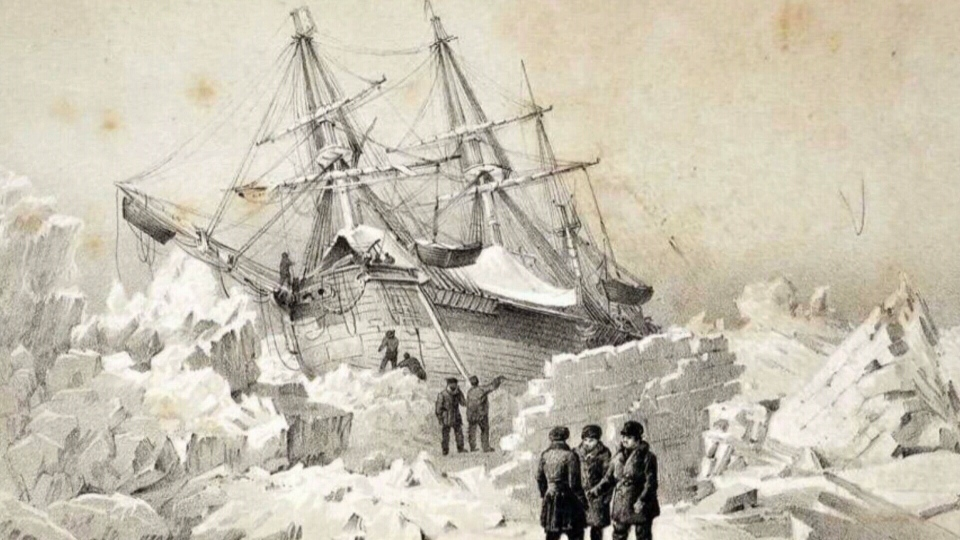 Illustration of ship caught in the ice in the Arctic