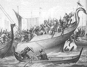 Medieval Viking sea battle, Orkney Islands, Scotland, UK