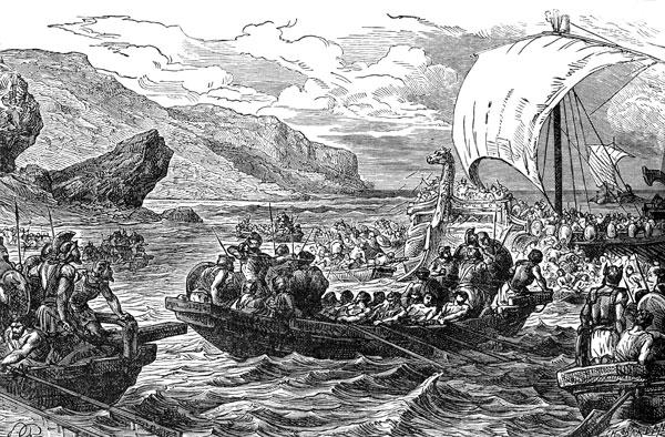 old illustration of Viking battle