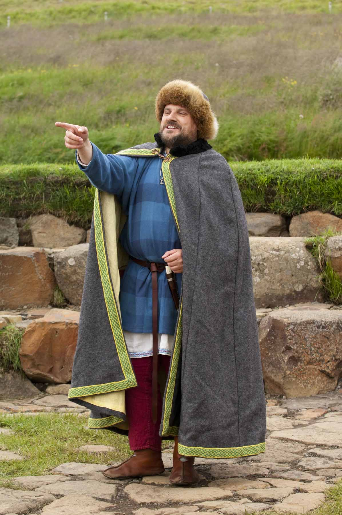 Native Orcadian storyteller Tom Muir, wearing his Viking garb made for him in Storholmen Viking Village, Sweden.
