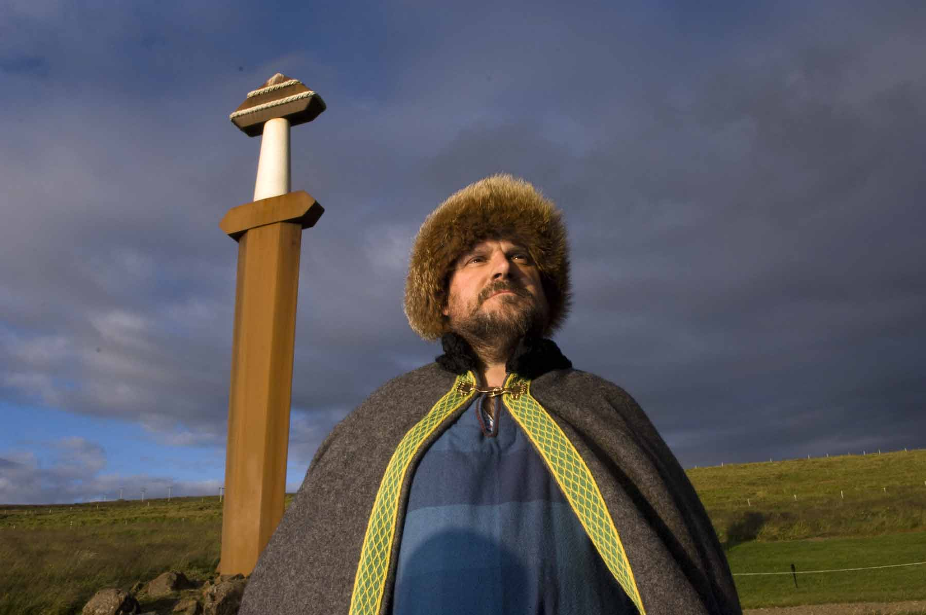 Orcadian storyteller Tom Muir in his Viking garb. Tom is the only living traditional native Orcadian storyteller.