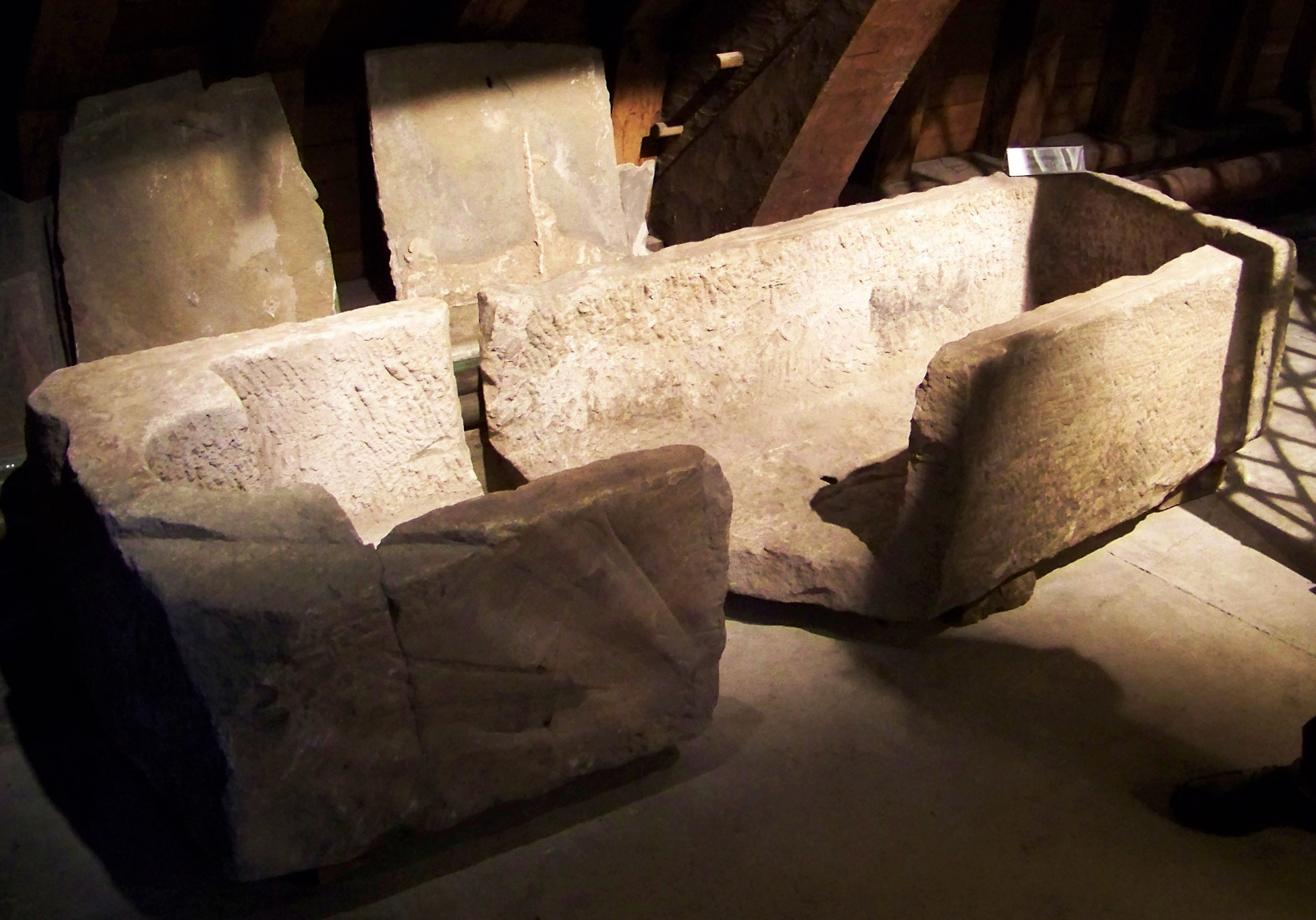 Mysterious sarcophagus in the cathedral's upper levels - Kirkwall, Orkney, Scotland, UK
