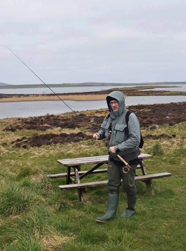 Trout fisherman at the Harray Loch, Orkney Islands, Scotland, UK - Orkneyology.com