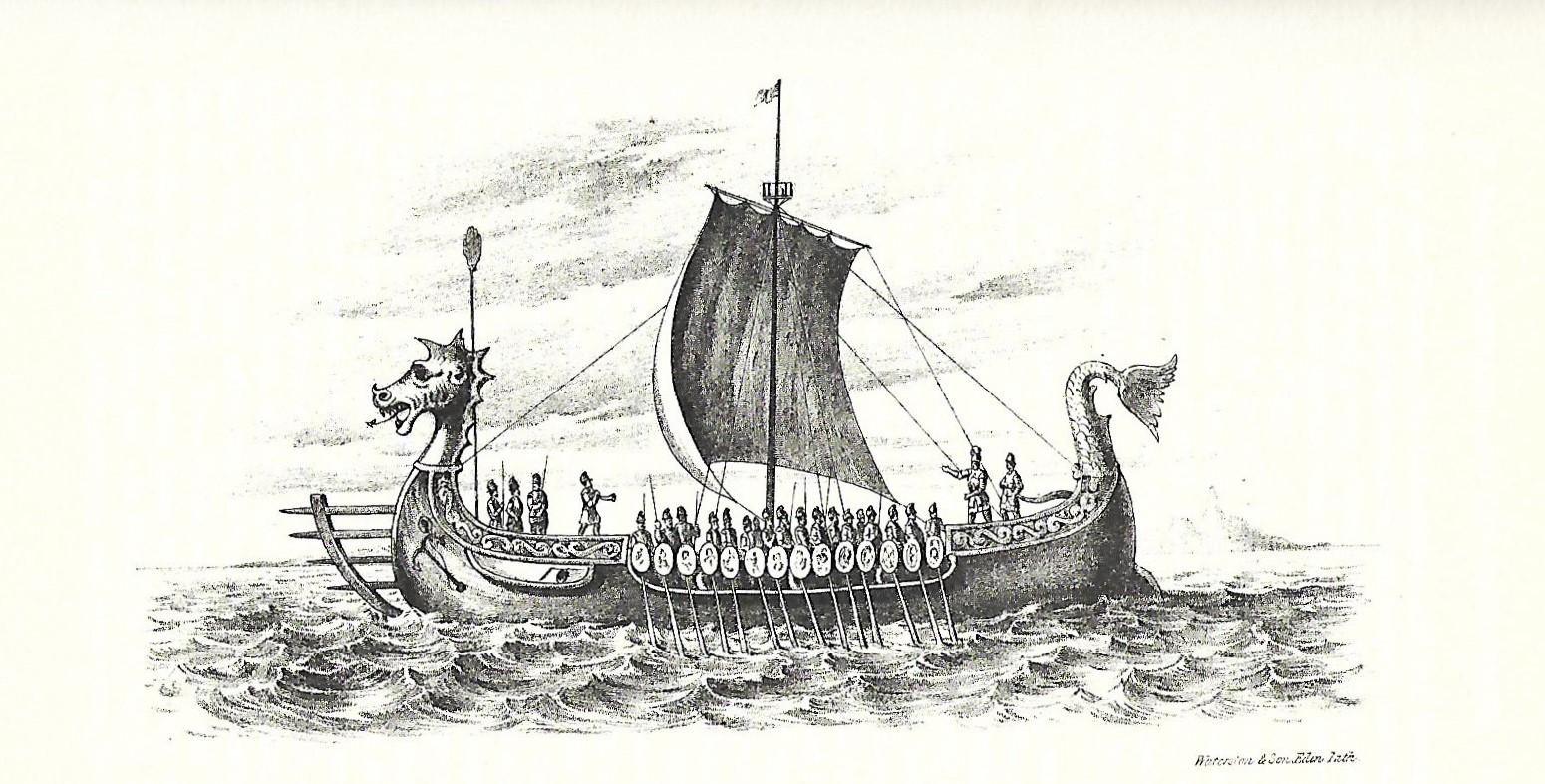 Victorian era illustration of a Viking longship