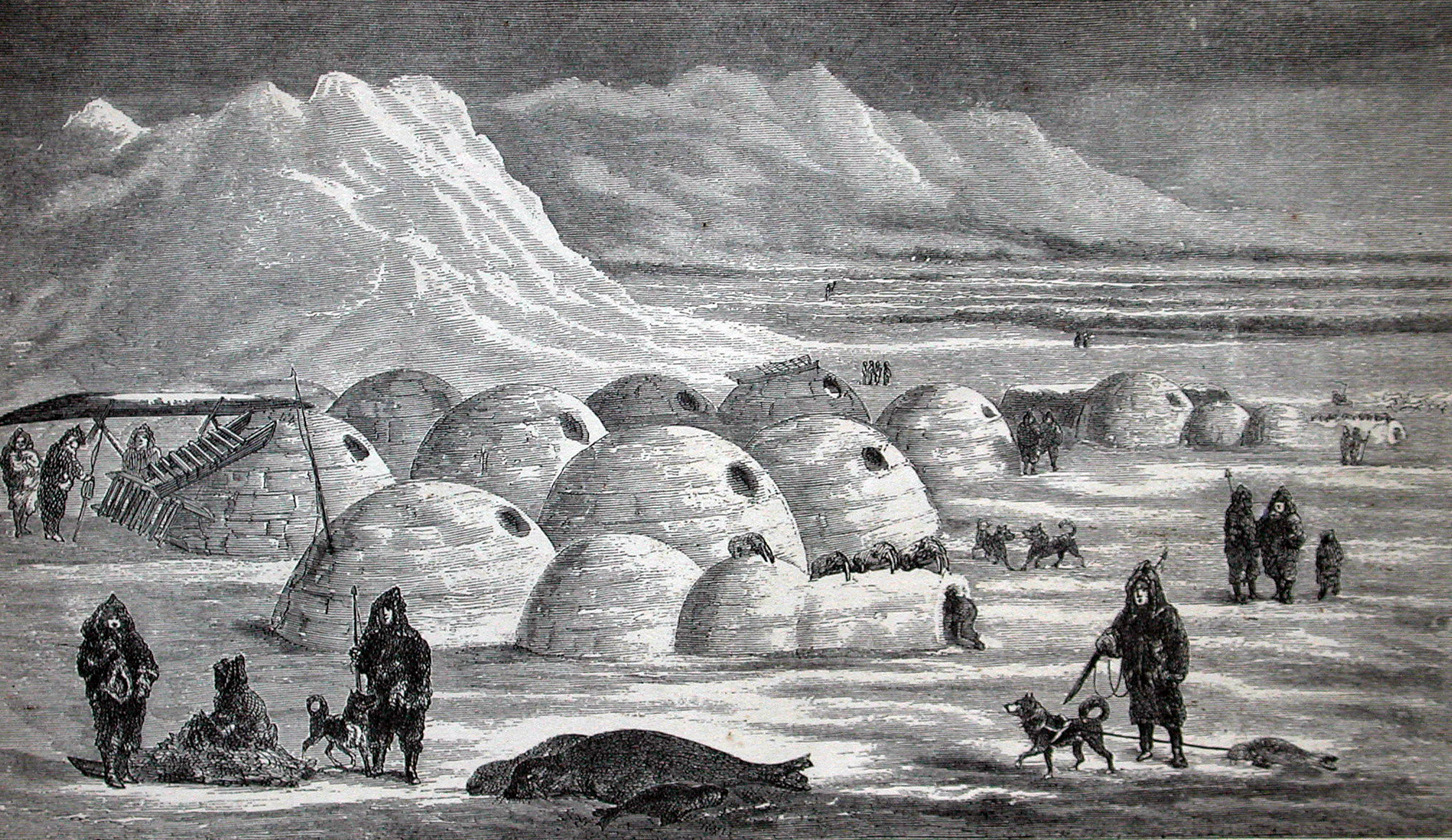 Old illustration of Inuit village life