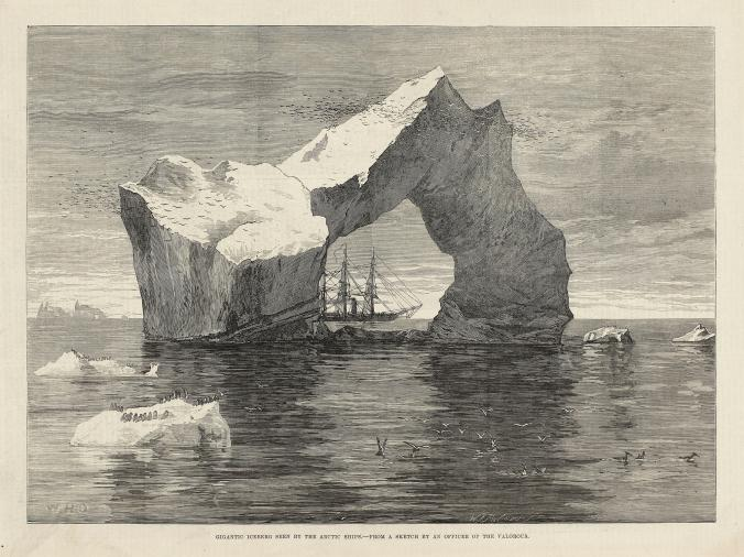 Old illustration of ship sailing in the Arctic