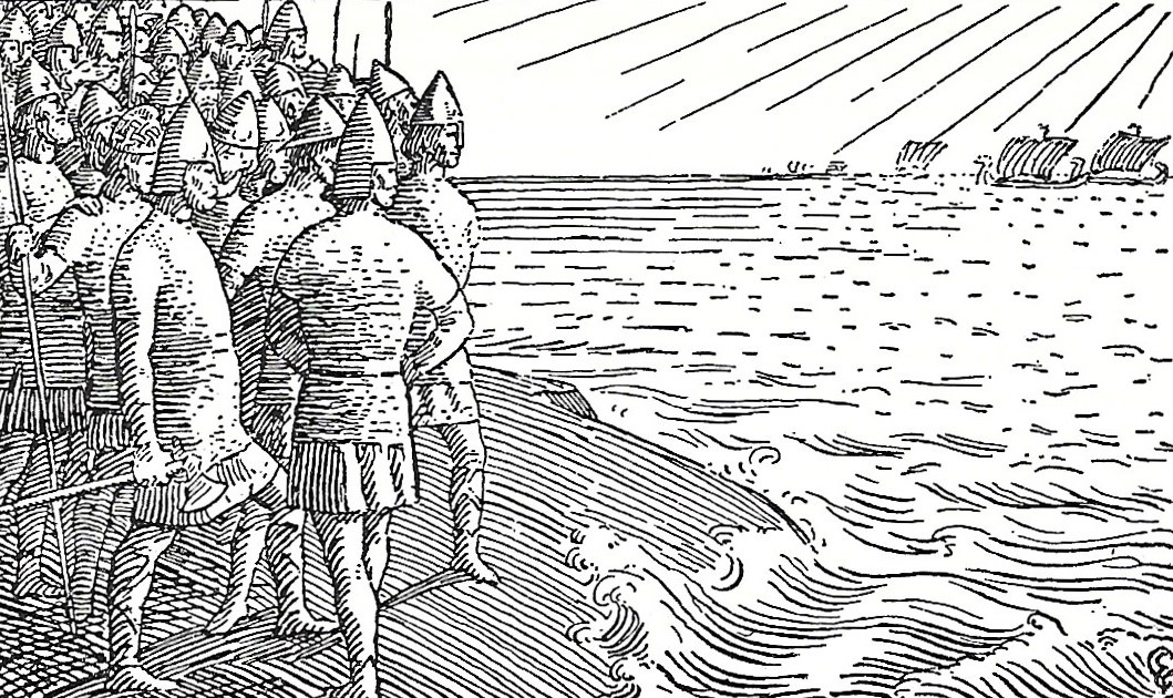 Old illustration of Viking days, Orkney Islands, Scotland, UK