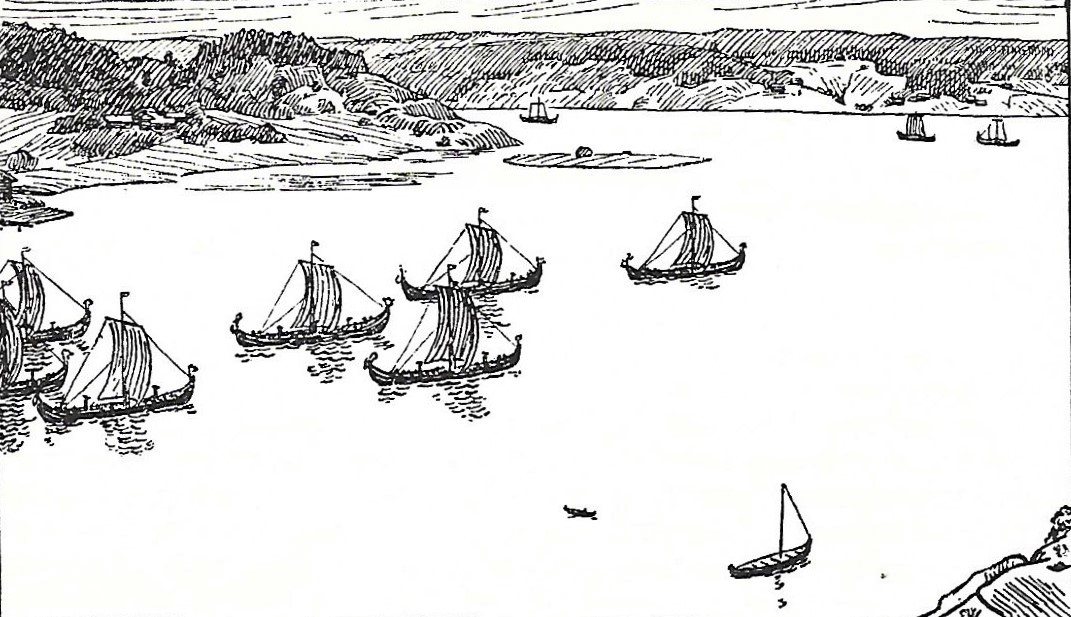 Old illustration of raiding Viking ships