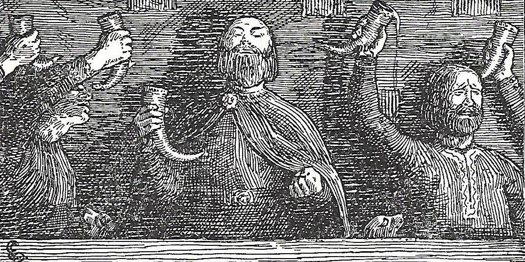 Illustration of Vikings in a drinking hall